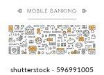 line banner mobile banking. web ... | Shutterstock . vector #596991005