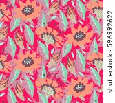 vector hand painted floral... | Shutterstock .eps vector #596992622
