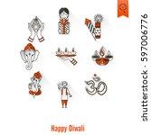 diwali. indian festival icons.... | Shutterstock .eps vector #597006776