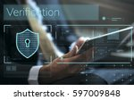 data security system shield...   Shutterstock . vector #597009848