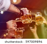 group of people celebrate party ... | Shutterstock . vector #597009896