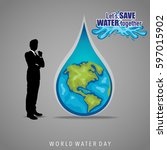 world water day background... | Shutterstock .eps vector #597015902