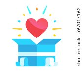 heart in the gift. gift box... | Shutterstock .eps vector #597017162