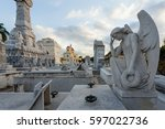 cemetery angel sculpture | Shutterstock . vector #597022736