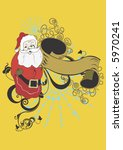 santa claus and a retro banner | Shutterstock .eps vector #5970241