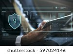 data security system shield... | Shutterstock . vector #597024146