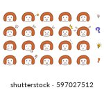 female face expression facial... | Shutterstock .eps vector #597027512