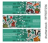 set of horizontal banners about ... | Shutterstock .eps vector #597037256