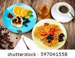 photo of healthy breakfast on... | Shutterstock . vector #597041558
