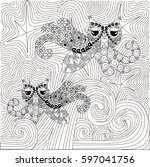 zen tangle hand drawn black and ... | Shutterstock .eps vector #597041756