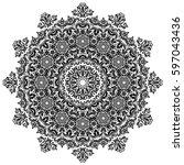 oriental vector round black... | Shutterstock .eps vector #597043436