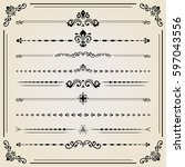 vintage set of vector black... | Shutterstock .eps vector #597043556