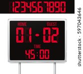 football digital scoreboard... | Shutterstock .eps vector #597043646