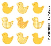 Ducks In Yellow Gingham And...