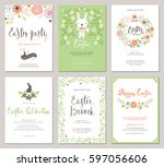 easter party invitations and... | Shutterstock .eps vector #597056606