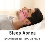Small photo of Snore problem concept. Illustration of obstructive sleep apnea
