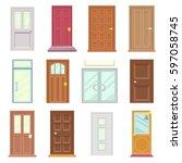 modern old doors icon set house ... | Shutterstock .eps vector #597058745