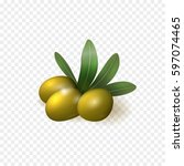 realistic green olives with... | Shutterstock .eps vector #597074465