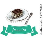 tiramisu colorful illustration. ... | Shutterstock .eps vector #597074846