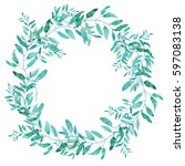 olive wreath isolated on white... | Shutterstock . vector #597083138