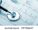 stethoscope on the cardiogram | Shutterstock . vector #59708647
