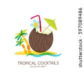 tropical island landscape with...   Shutterstock .eps vector #597089486