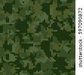 digital pixel green camouflage... | Shutterstock .eps vector #597090872