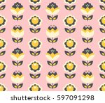 seamless retro pattern with... | Shutterstock .eps vector #597091298
