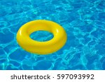 colorful inflatable tube... | Shutterstock . vector #597093992