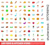 100 food and kitchen icons set... | Shutterstock .eps vector #597098942