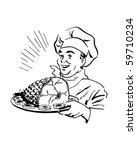 chef with ham   retro clip art | Shutterstock .eps vector #59710234