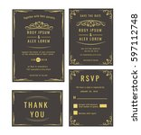 wedding invitation   save the... | Shutterstock .eps vector #597112748