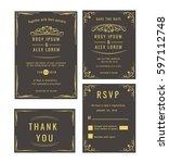 wedding invitation   save the... | Shutterstock .eps vector #597112748