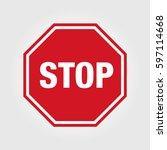 stop sign vector icon | Shutterstock .eps vector #597114668