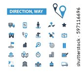 direction way icons | Shutterstock .eps vector #597116696