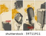 microphone drawing banners | Shutterstock .eps vector #59711911