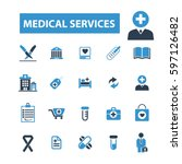 medical services icons  | Shutterstock .eps vector #597126482