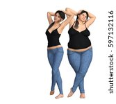 conceptual fat overweight obese ... | Shutterstock . vector #597132116
