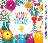happy easter greeting card.... | Shutterstock .eps vector #597133892