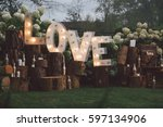 decorated meadow for wedding...   Shutterstock . vector #597134906