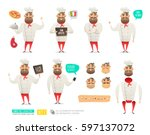 set of cartoon chef character... | Shutterstock .eps vector #597137072