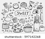 set of various doodles  hand... | Shutterstock .eps vector #597142268