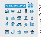 public buildings icons | Shutterstock .eps vector #597142745