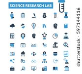 science research lab icons | Shutterstock .eps vector #597144116