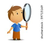 boy with big magnifier | Shutterstock .eps vector #59715169