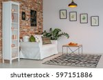 living room with brick wall ... | Shutterstock . vector #597151886