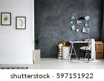 simple home office with grey... | Shutterstock . vector #597151922