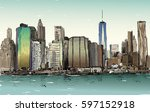 sketch of cityscape in new york ... | Shutterstock .eps vector #597152918