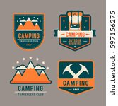 camping flat set with hiking... | Shutterstock .eps vector #597156275