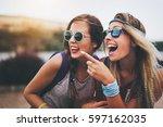 beautiful women outdoor having...   Shutterstock . vector #597162035